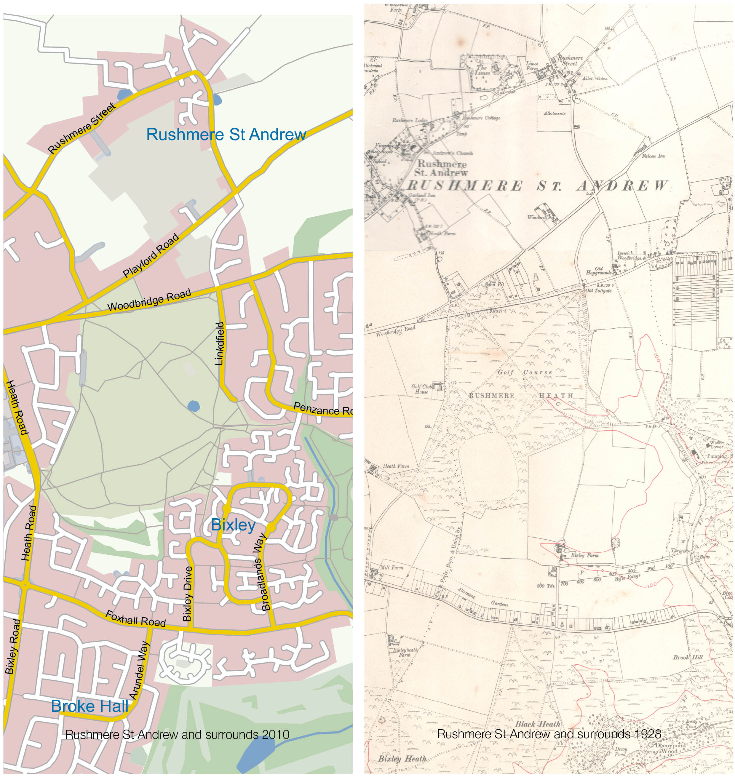 Rushmere St Andrew maps past and present